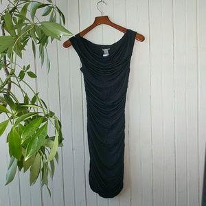 H&M black ruched cowl neck midi dress 34 0